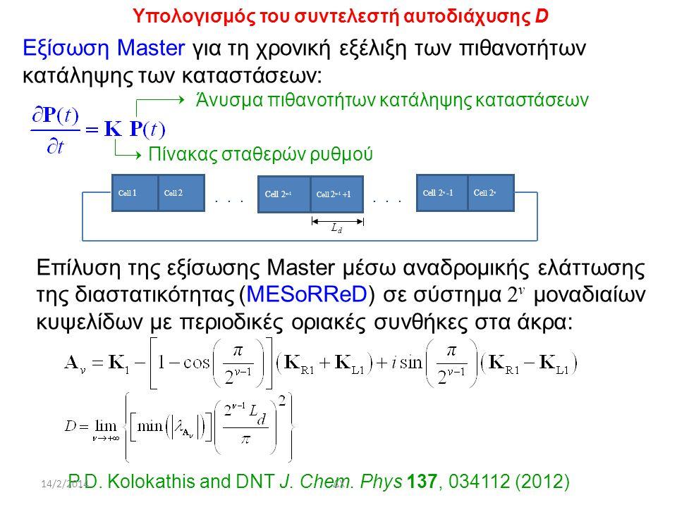 Υπολογισμός του συντελεστή αυτοδιάχυσης D