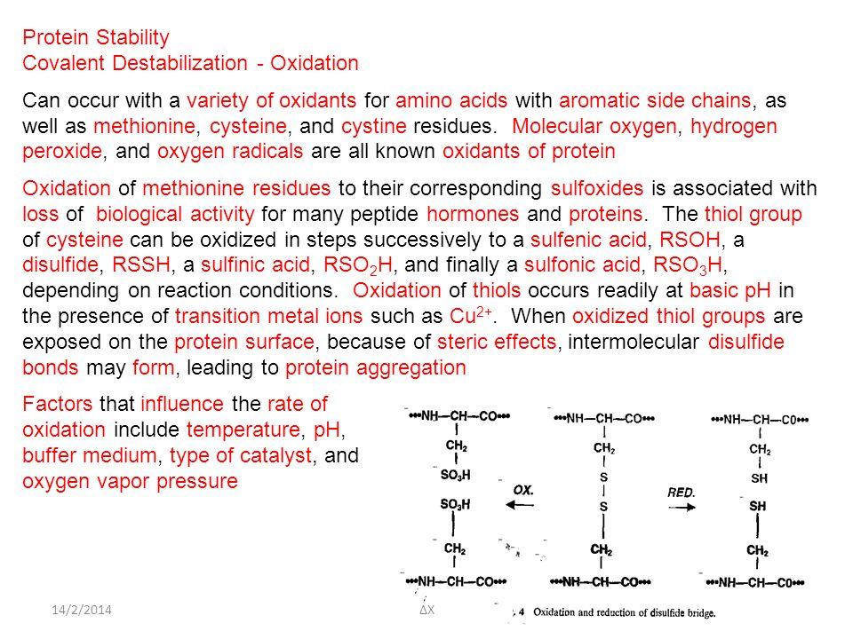 Covalent Destabilization - Oxidation