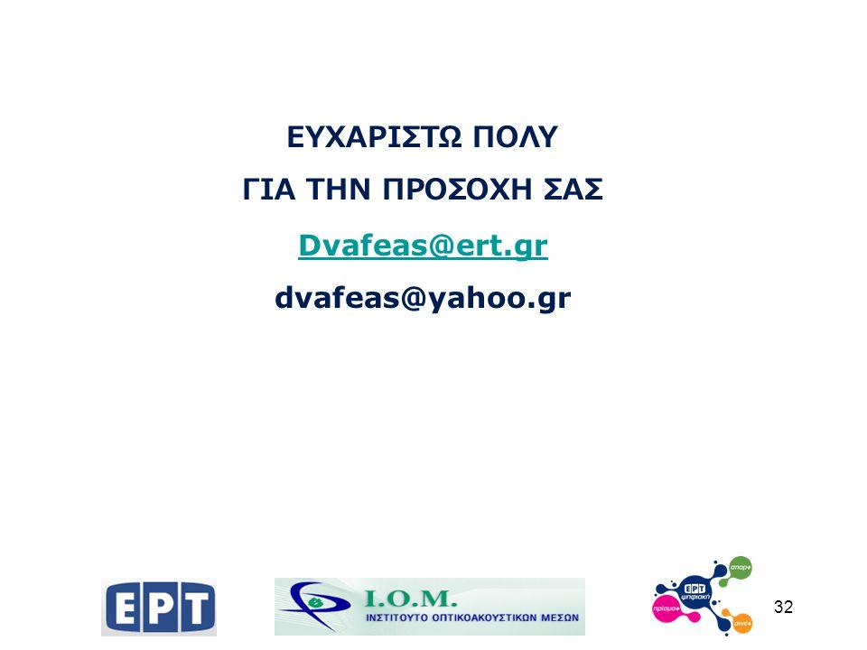 ΕΥΧΑΡΙΣΤΩ ΠΟΛΥ ΓΙΑ ΤΗΝ ΠΡΟΣΟΧΗ ΣΑΣ Dvafeas@ert.gr dvafeas@yahoo.gr