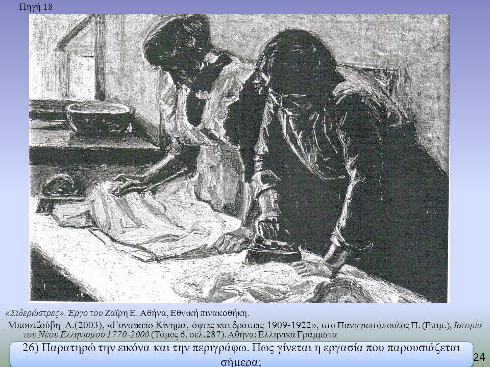 Πηγή 18 «Σιδερώστρες». Έργο του Ζαΐρη Ε. Αθήνα, Εθνική πινακοθήκη