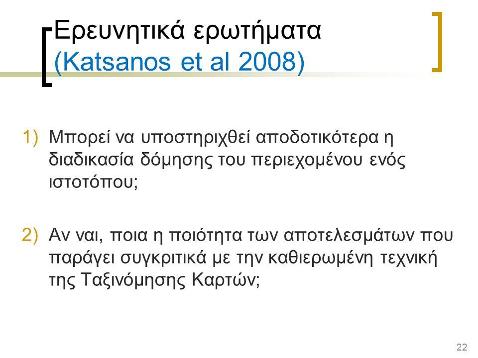 Ερευνητικά ερωτήματα (Katsanos et al 2008)