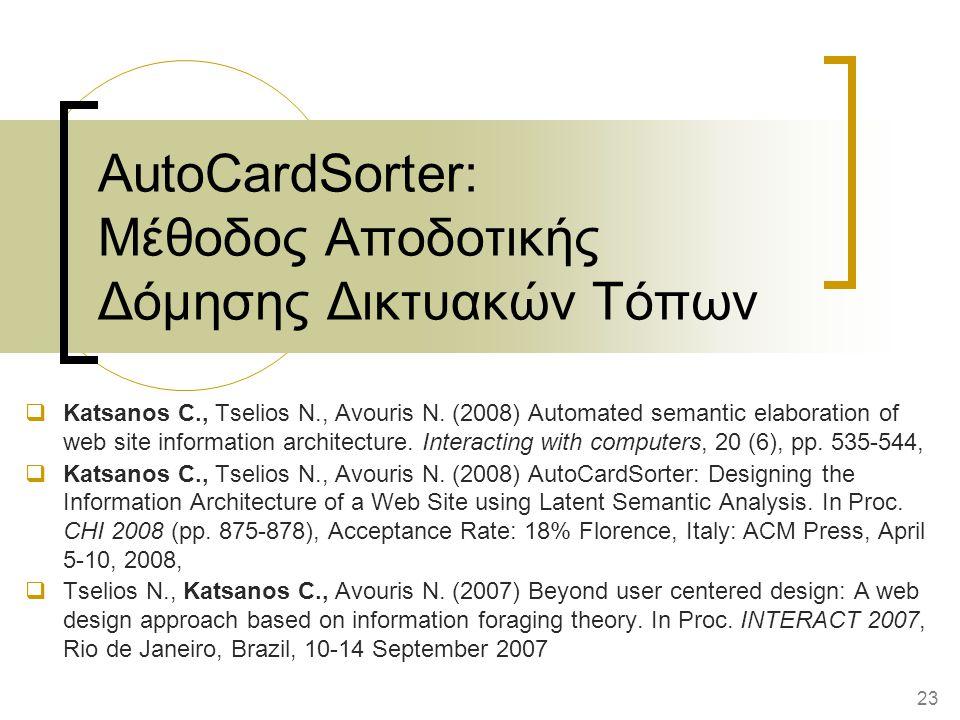 AutoCardSorter: Μέθοδος Αποδοτικής Δόμησης Δικτυακών Τόπων