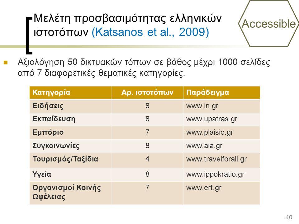 Μελέτη προσβασιμότητας ελληνικών ιστοτόπων (Katsanos et al., 2009)