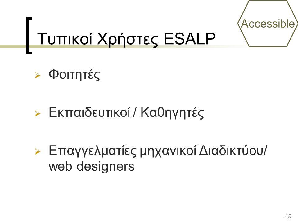 Τυπικοί Χρήστες ESALP Φοιτητές Εκπαιδευτικοί / Καθηγητές