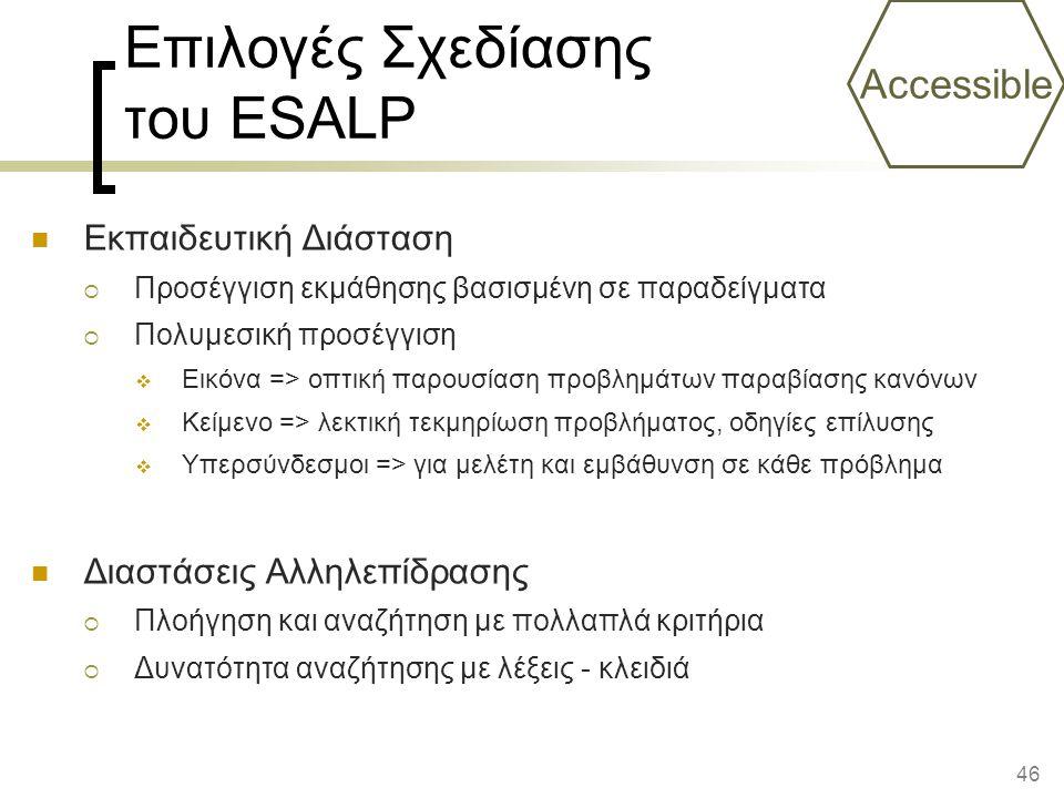 Επιλογές Σχεδίασης του ESALP