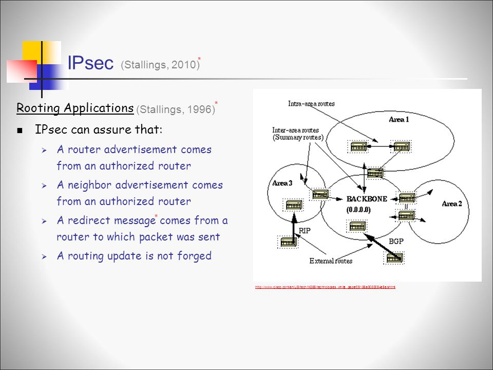 IPsec Rooting Applications IPsec can assure that: (Stallings, 2010)