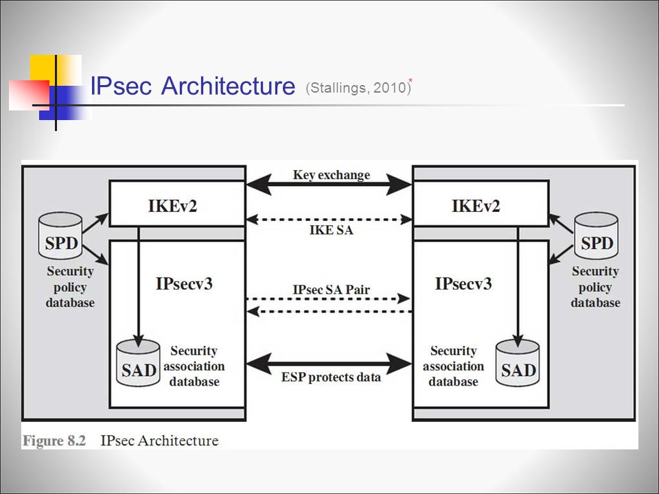IPsec Architecture (Stallings, 2010) * Security Associations
