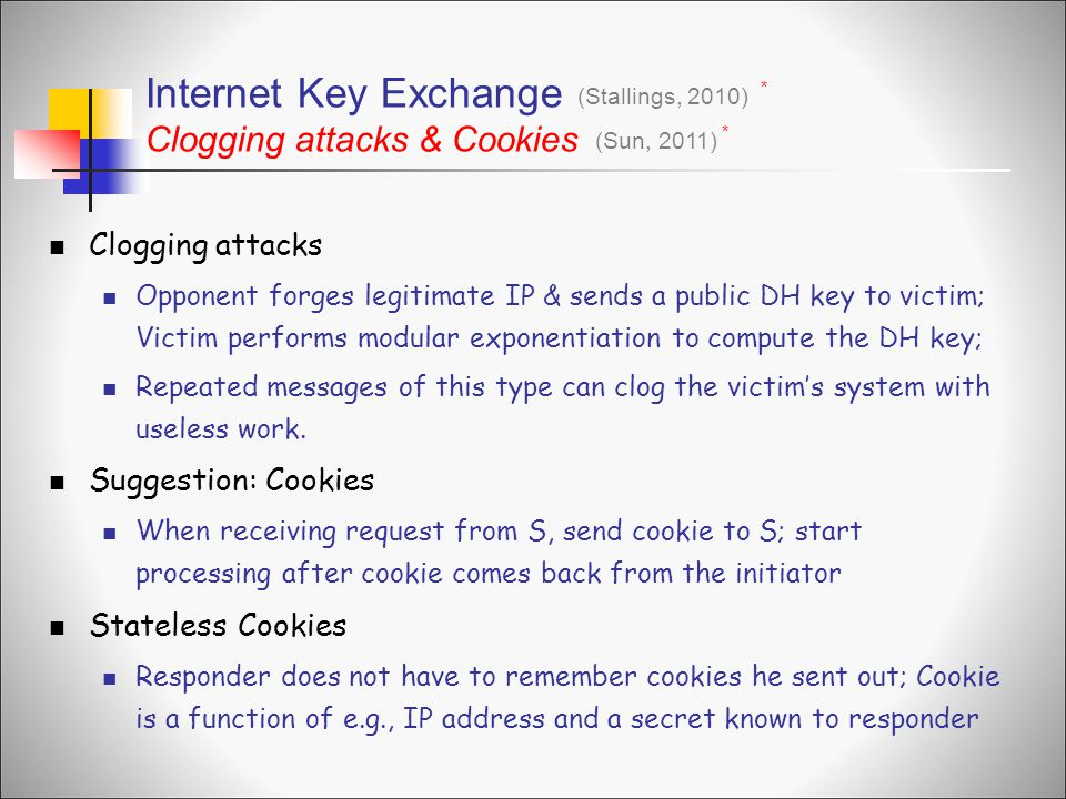 Internet Key Exchange Clogging attacks & Cookies