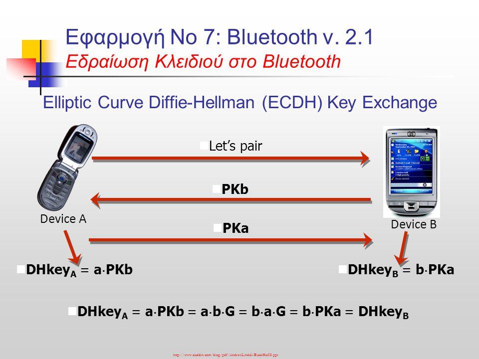 Εφαρμογή Νο 7: Bluetooth v. 2.1 Εδραίωση Κλειδιού στο Bluetooth