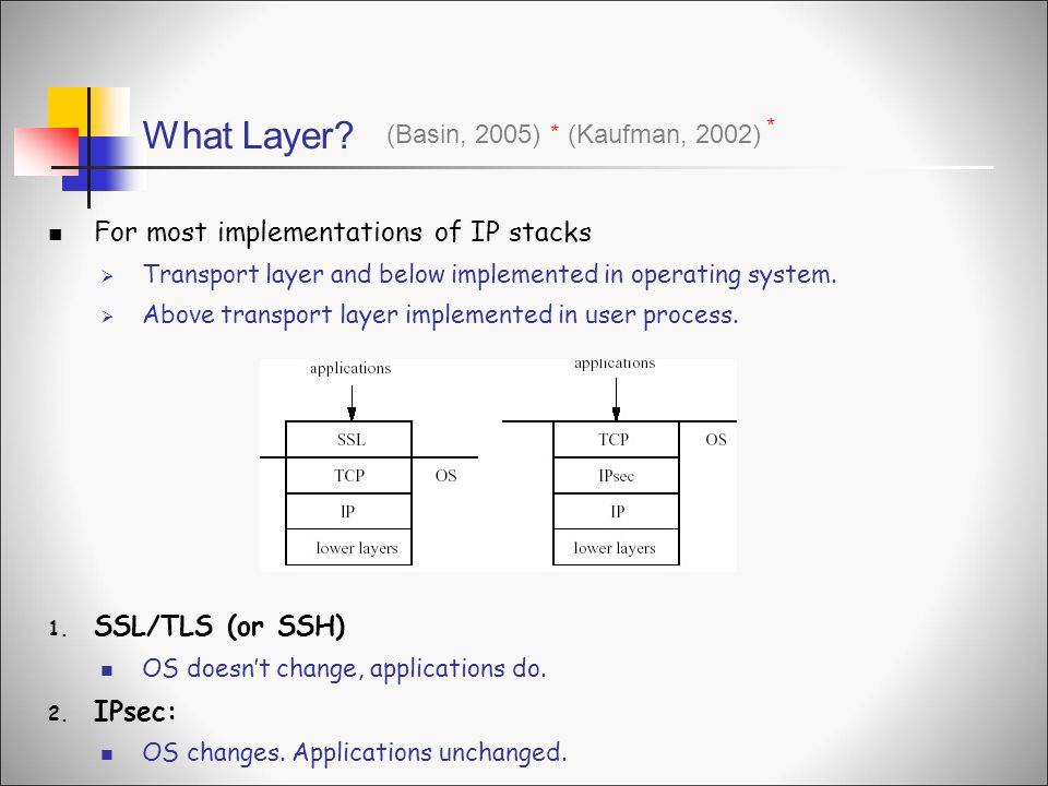 What Layer For most implementations of IP stacks SSL/TLS (or SSH)