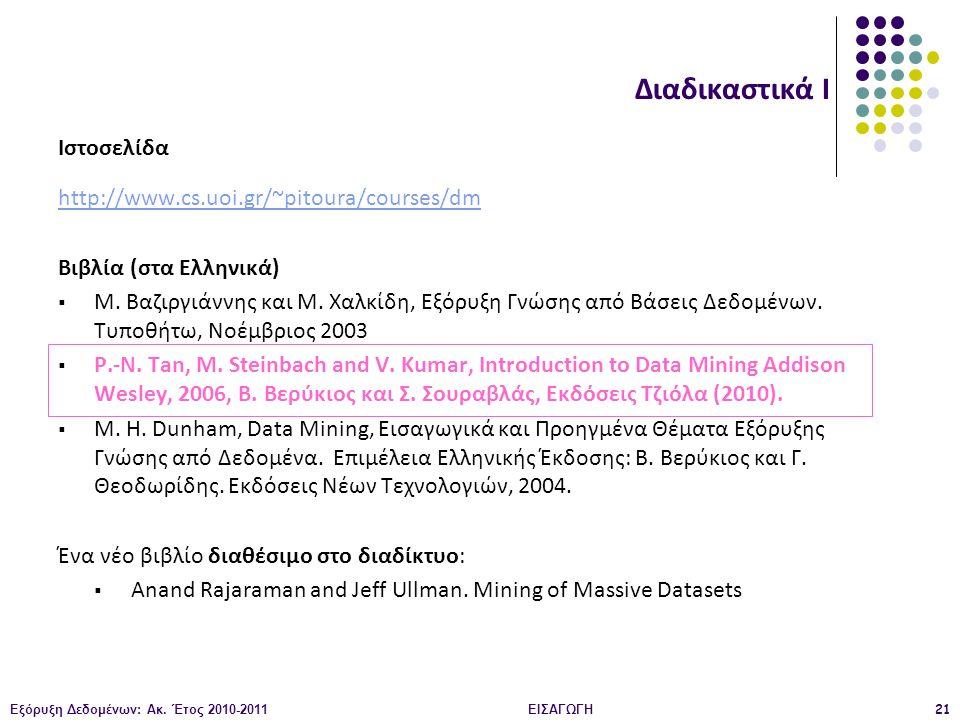 Διαδικαστικά Ι Ιστοσελίδα http://www.cs.uoi.gr/~pitoura/courses/dm