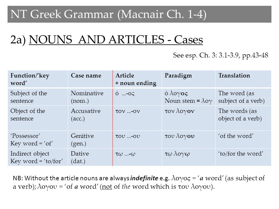 2a) NOUNS AND ARTICLES - Cases