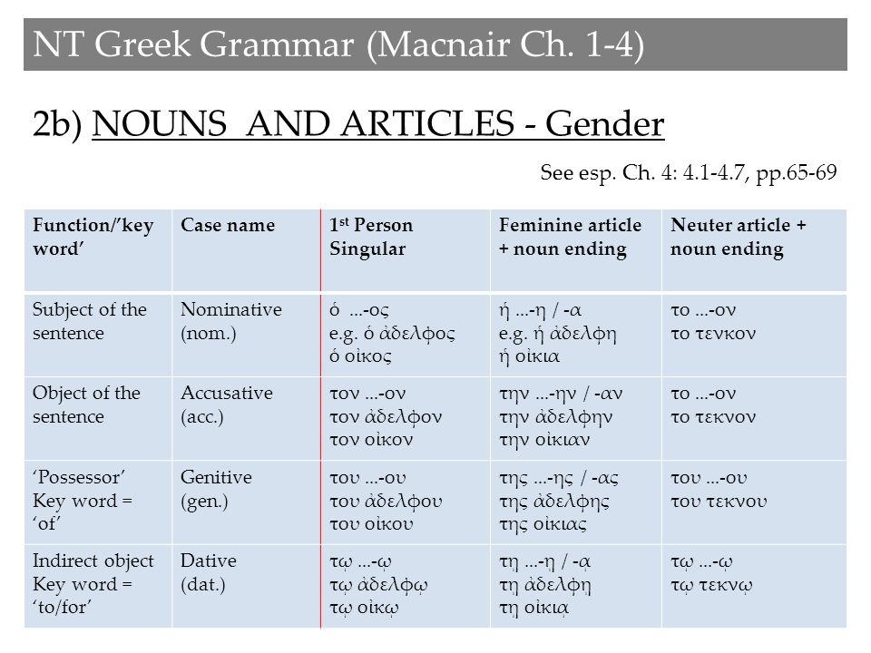 2b) NOUNS AND ARTICLES - Gender