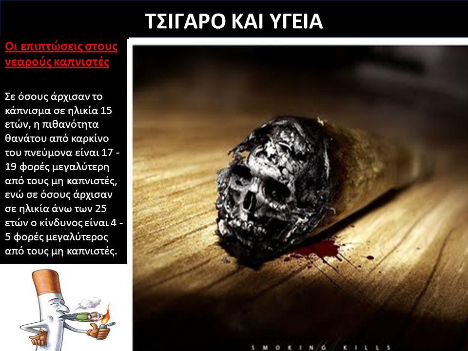 ΤΣΙΓΑΡΟ ΚΑΙ ΥΓΕΙΑ Οι επιπτώσεις στους νεαρούς καπνιστές