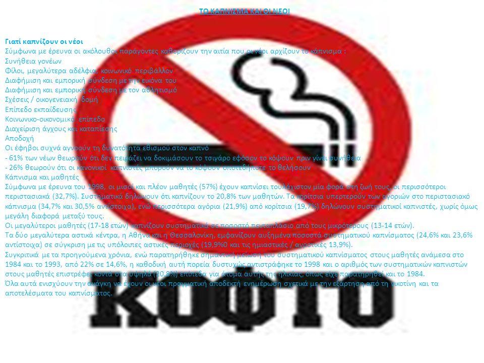 ΤΟ ΚΑΠΝΙΣΜΑ ΚΑΙ ΟΙ ΝΕΟΙ Γιατί καπνίζουν οι νέοι