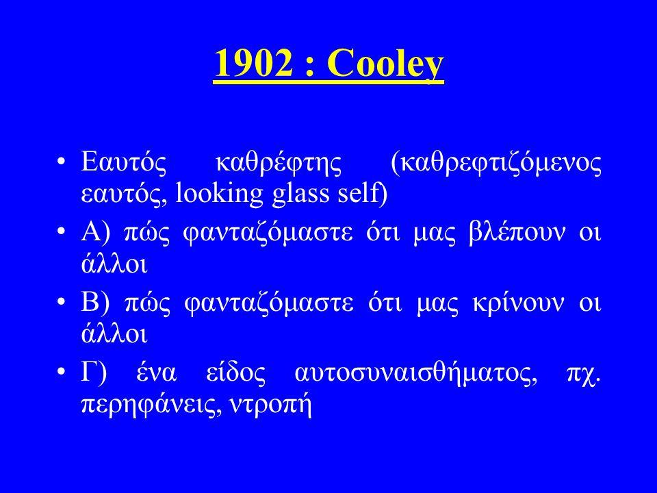 1902 : Cooley Εαυτός καθρέφτης (καθρεφτιζόμενος εαυτός, looking glass self) Α) πώς φανταζόμαστε ότι μας βλέπουν οι άλλοι.