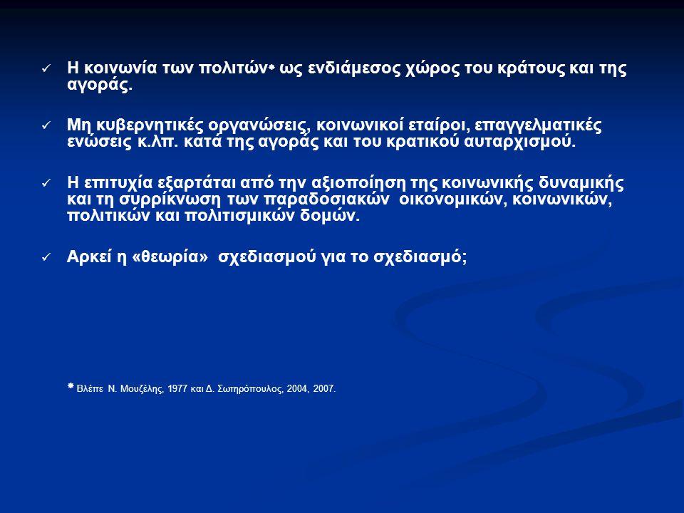  Βλέπε Ν. Μουζέλης, 1977 και Δ. Σωτηρόπουλος, 2004, 2007.