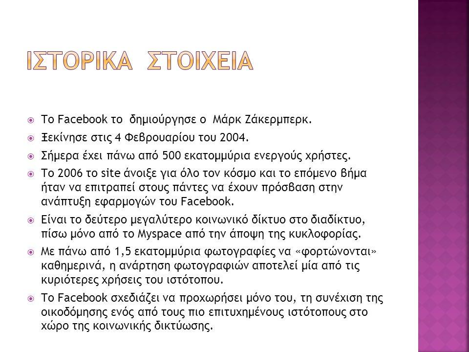 Ιστορικα στοιχεια Το Facebook το δημιούργησε ο Μάρκ Ζάκερμπερκ.