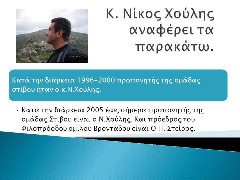 Κ. Νίκος Χούλης αναφέρει τα παρακάτω.