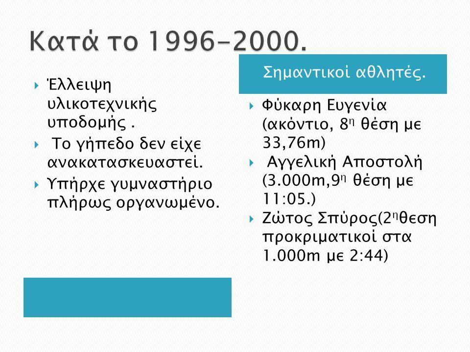 Κατά το 1996-2000. Σημαντικοί αθλητές.