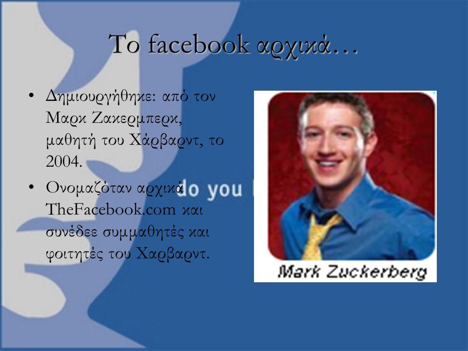 Το facebook αρχικά… Δημιουργήθηκε: από τον Μαρκ Ζακερμπερκ, μαθητή του Χάρβαρντ, το 2004.