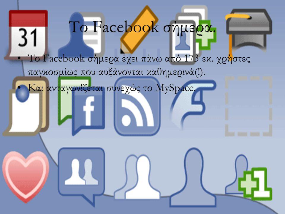 Το Facebook σήμερα. Το Facebook σήμερα έχει πάνω από 173 εκ. χρήστες παγκοσμίως που αυξάνονται καθημερινά(!).