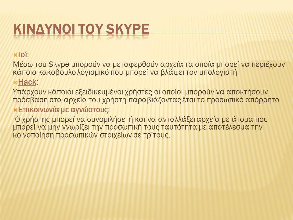 Κινδυνοι του Skype Ιοί:
