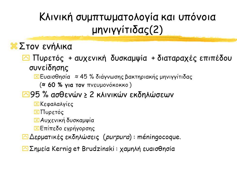 Κλινική συμπτωματολογία και υπόνοια μηνιγγίτιδας(2)