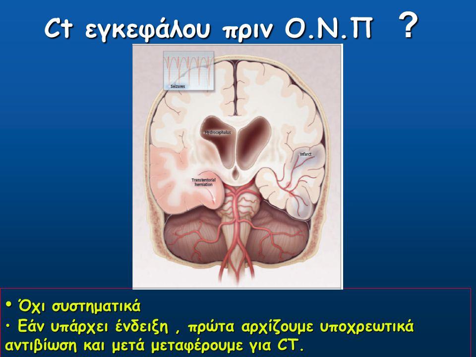 Ct εγκεφάλου πριν Ο.Ν.Π Όχι συστηματικά