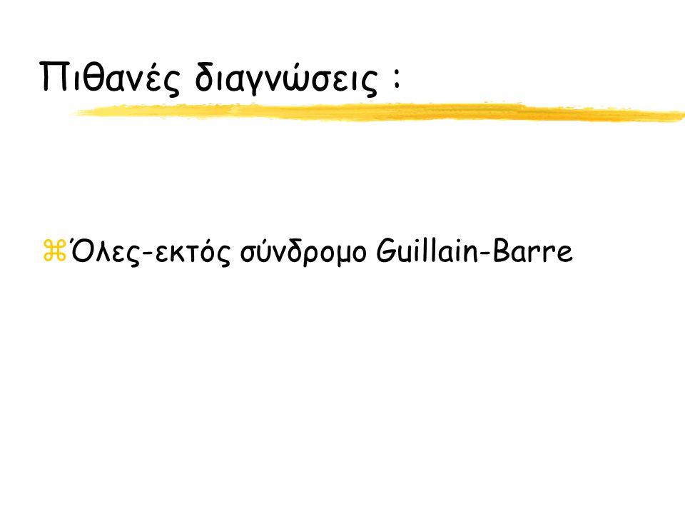 Πιθανές διαγνώσεις : Όλες-εκτός σύνδρομο Guillain-Barre