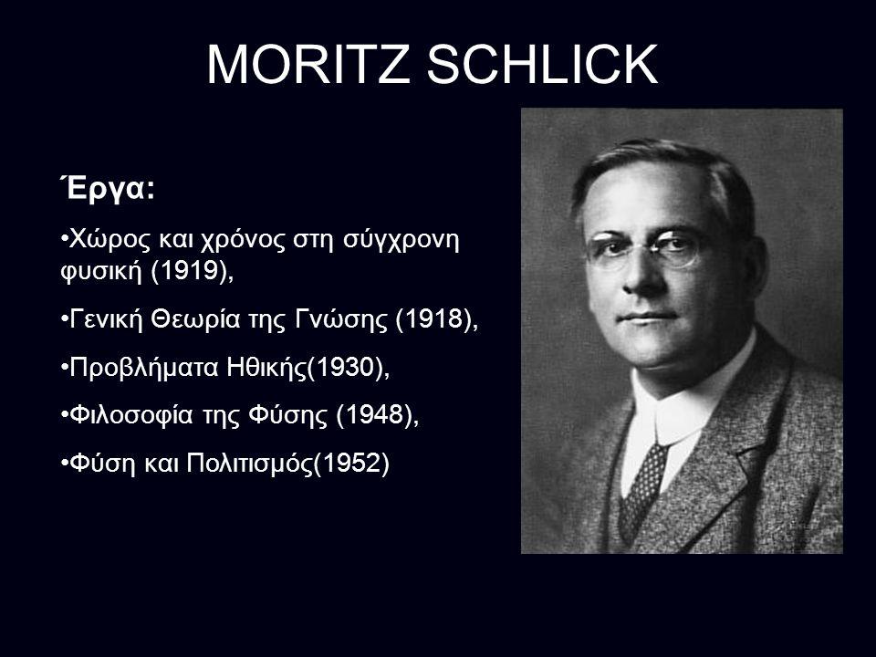 MORITZ SCHLICK Έργα: Χώρος και χρόνος στη σύγχρονη φυσική (1919),