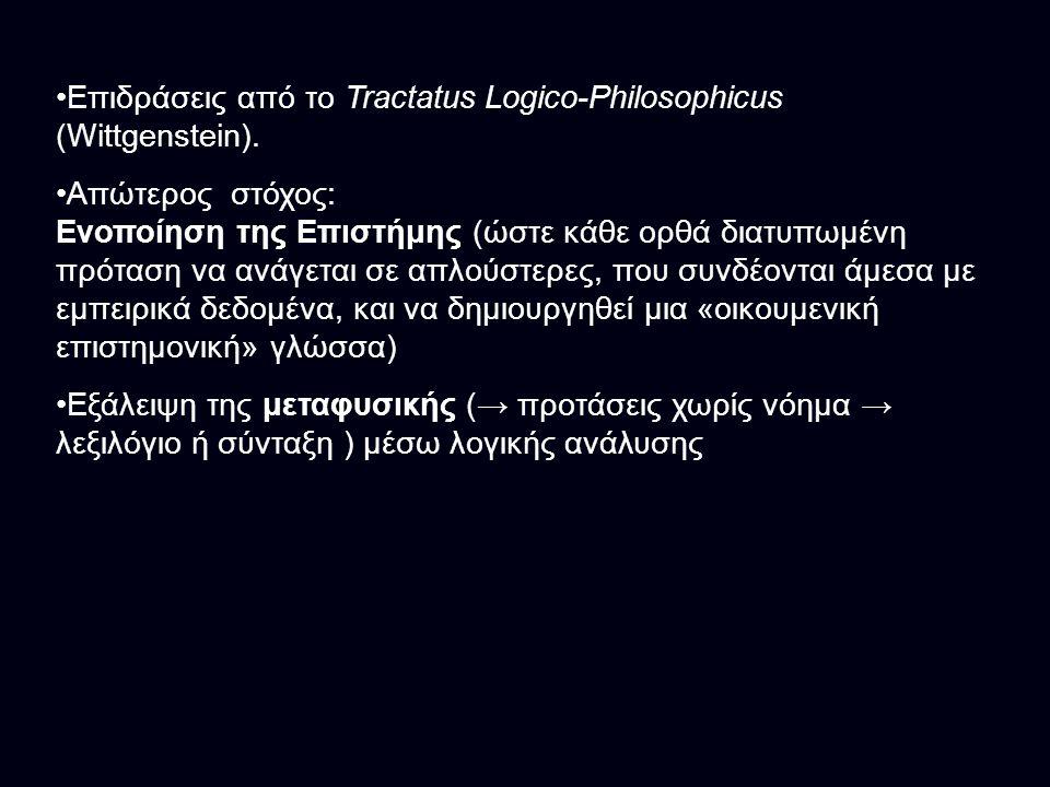 Επιδράσεις από το Tractatus Logico-Philosophicus (Wittgenstein).