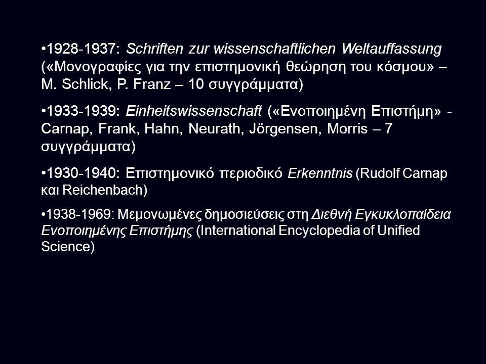 1928-1937: Schriften zur wissenschaftlichen Weltauffassung («Μονογραφίες για την επιστημονική θεώρηση του κόσμου» – M. Schlick, P. Franz – 10 συγγράμματα)