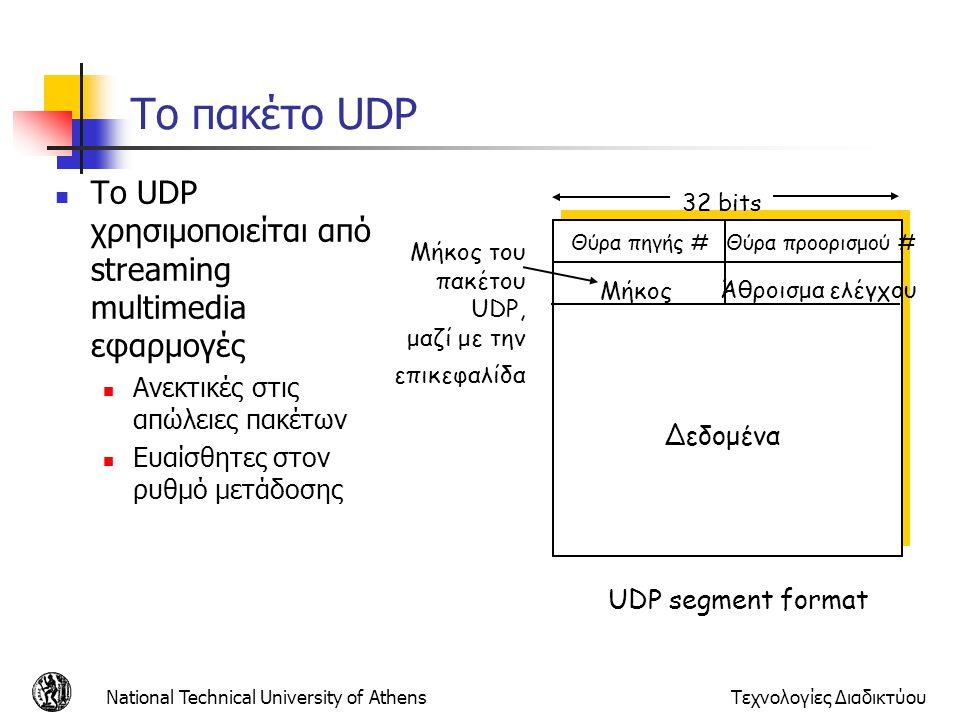 Το πακέτο UDP Το UDP χρησιμοποιείται από streaming multimedia εφαρμογές. Ανεκτικές στις απώλειες πακέτων.