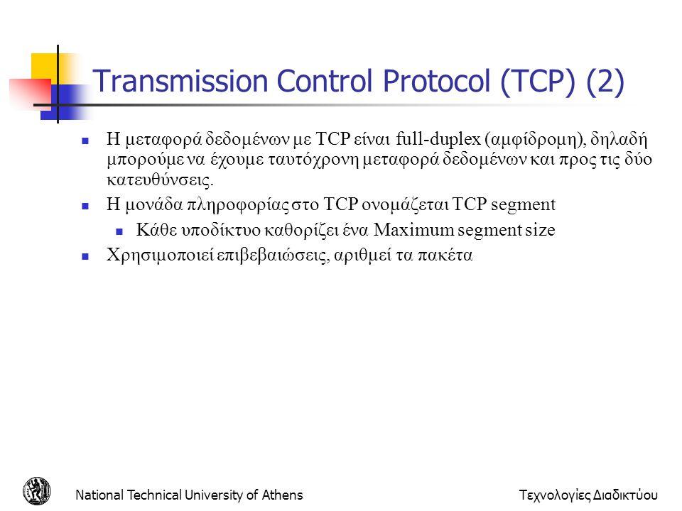 Transmission Control Protocol (TCP) (2)