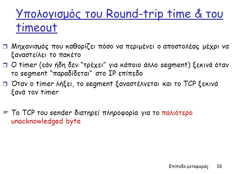 Υπολογισμός του Round-trip time & του timeout