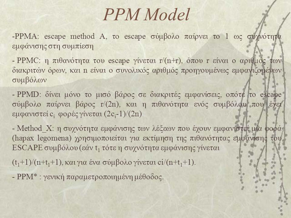 PPM Model PPMA: escape method A, το escape σύμβολο παίρνει το 1 ως συχνότητα εμφάνισης στη συμπίεση.