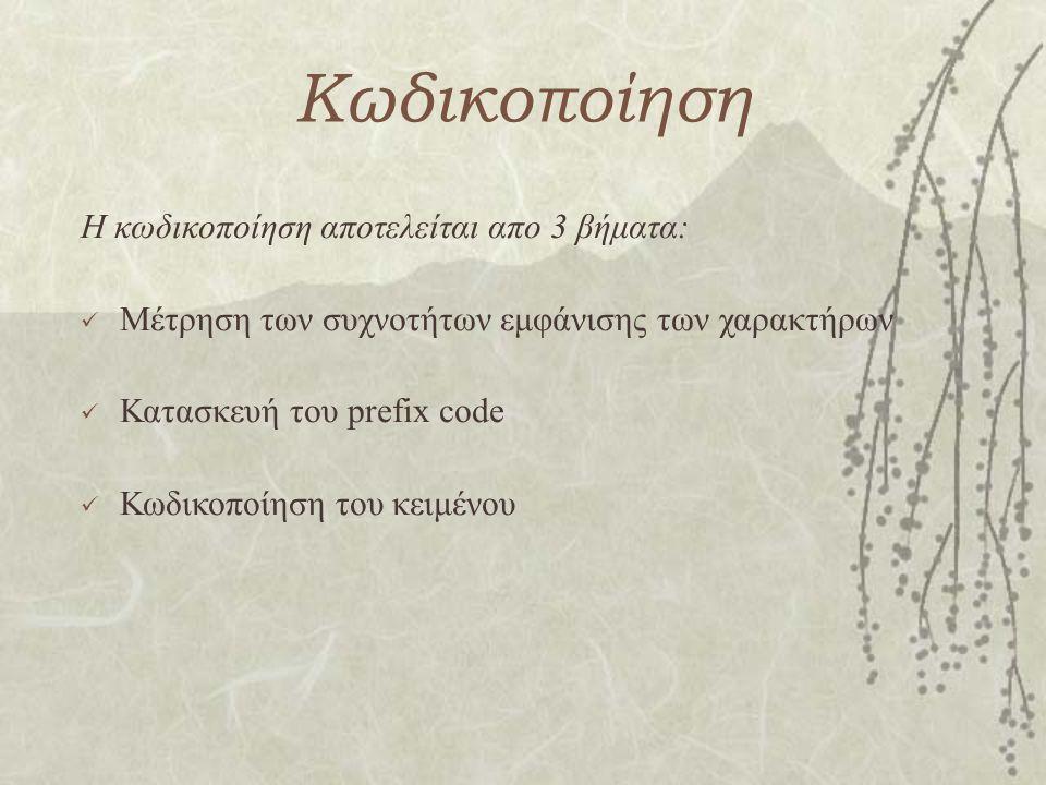 Κωδικοποίηση Η κωδικοποίηση αποτελείται απο 3 βήματα: