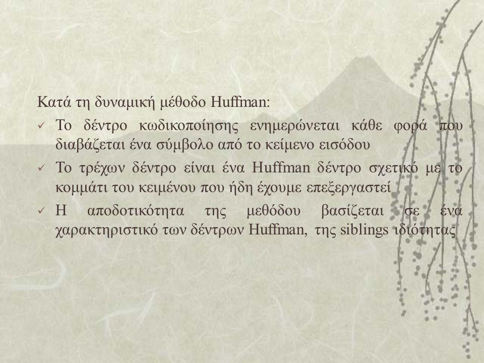 Κατά τη δυναμική μέθοδο Huffman: