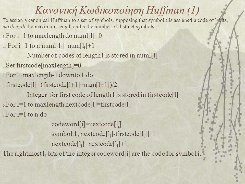 Κανονική Κωδικοποίηση Huffman (1)