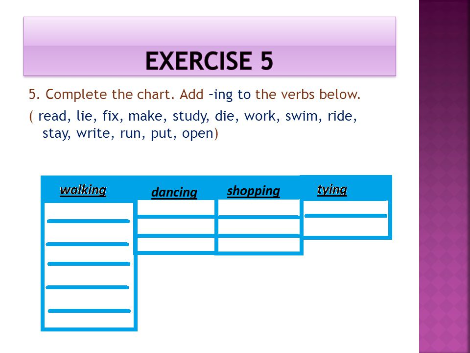 Exercise 5 5. Complete the chart. Add –ing to the verbs below.