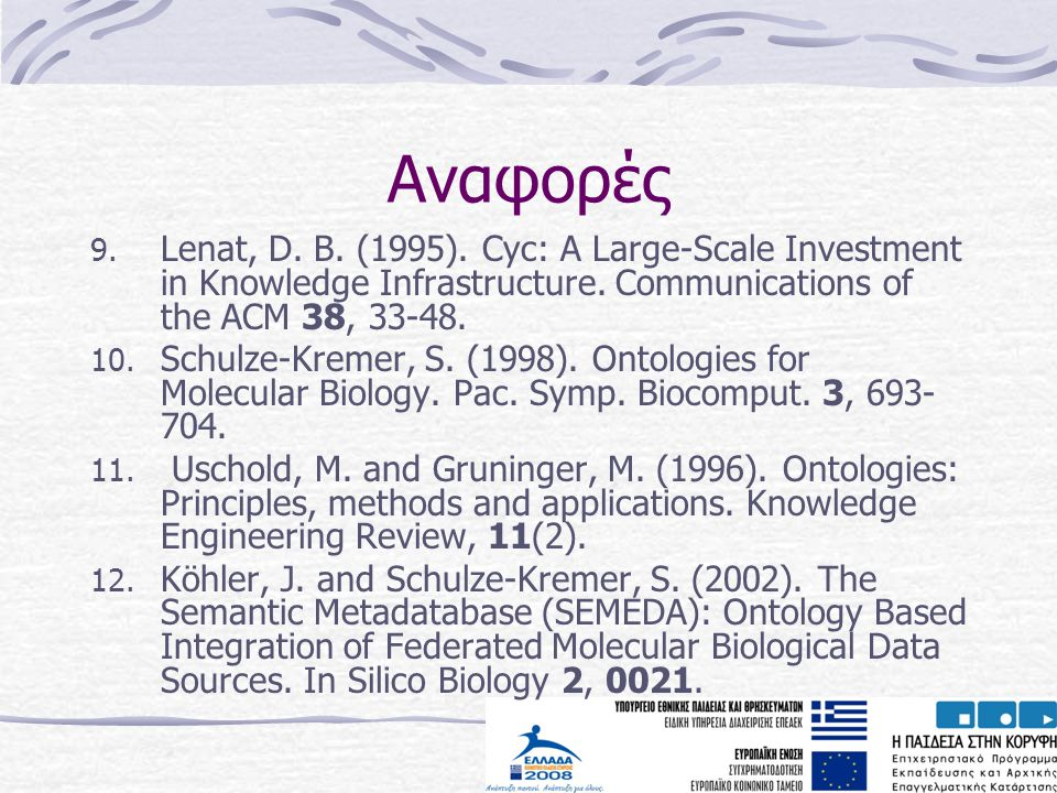 Αναφορές Lenat, D. B. (1995). Cyc: A Large-Scale Investment in Knowledge Infrastructure. Communications of the ACM 38, 33-48.