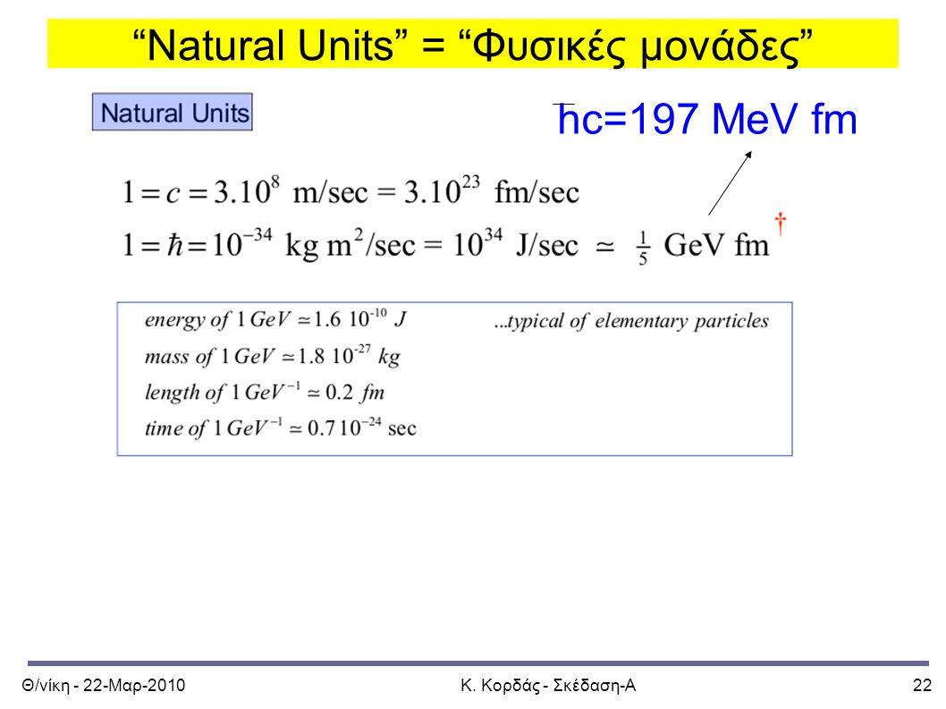 Natural Units = Φυσικές μονάδες
