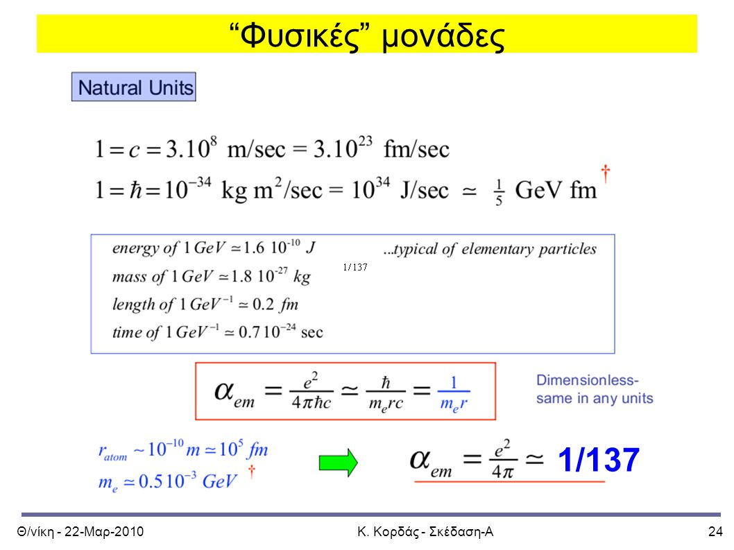 Φυσικές μονάδες 1/137 Θ/νίκη - 22-Μαρ-2010 Κ. Κορδάς - Σκέδαση-Α