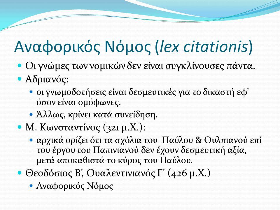 Αναφορικός Νόμος (lex citationis)