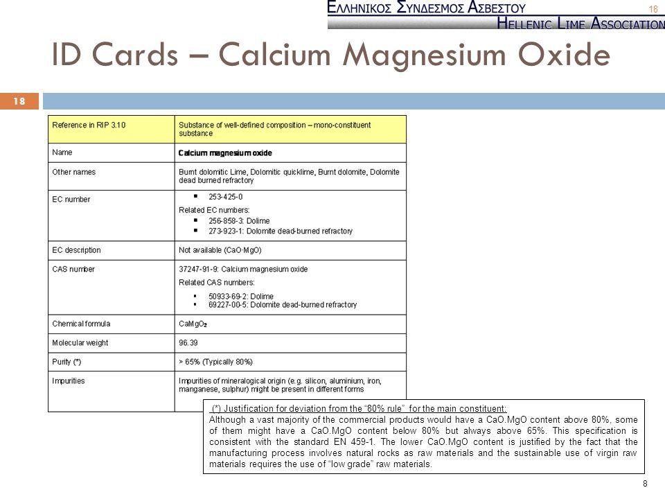 ID Cards – Calcium Magnesium Oxide