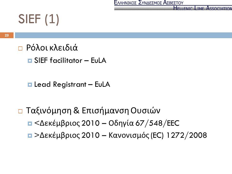 SIEF (1) Ρόλοι κλειδιά Ταξινόμηση & Επισήμανση Ουσιών