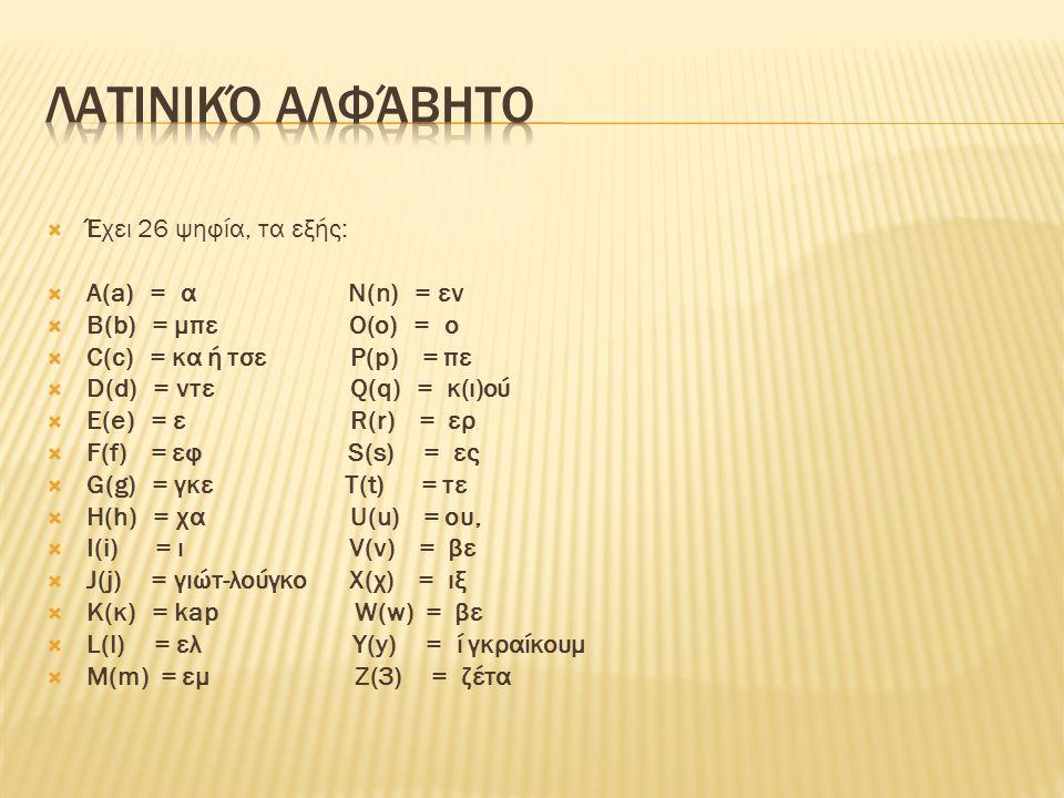 Λατινικό αλφάβητο Έχει 26 ψηφία, τα εξής: Α(a) = α Ν(n) = εν