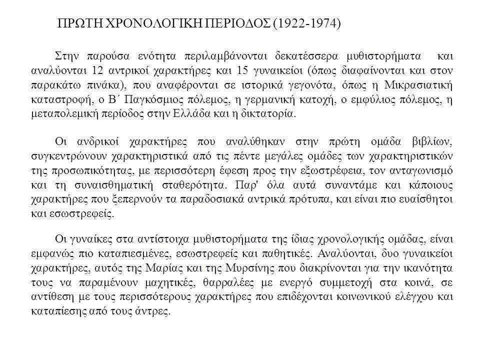 ΠΡΩΤΗ ΧΡΟΝΟΛΟΓΙΚΗ ΠΕΡΙΟΔΟΣ (1922-1974)
