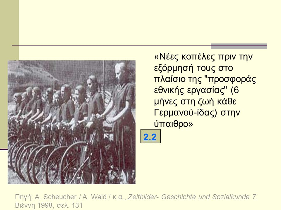 «Νέες κοπέλες πριν την εξόρμησή τους στο πλαίσιο της προσφοράς εθνικής εργασίας (6 μήνες στη ζωή κάθε Γερμανού-ίδας) στην ύπαιθρο»